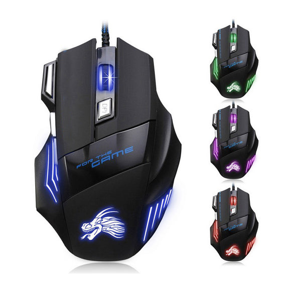 New Professional Wired Gaming Mouse 5500 DPI 7 Buttons LED Mouse