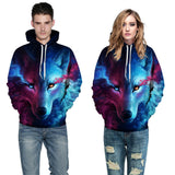 Unisex Couples  3D Sky Wolf Hoodies