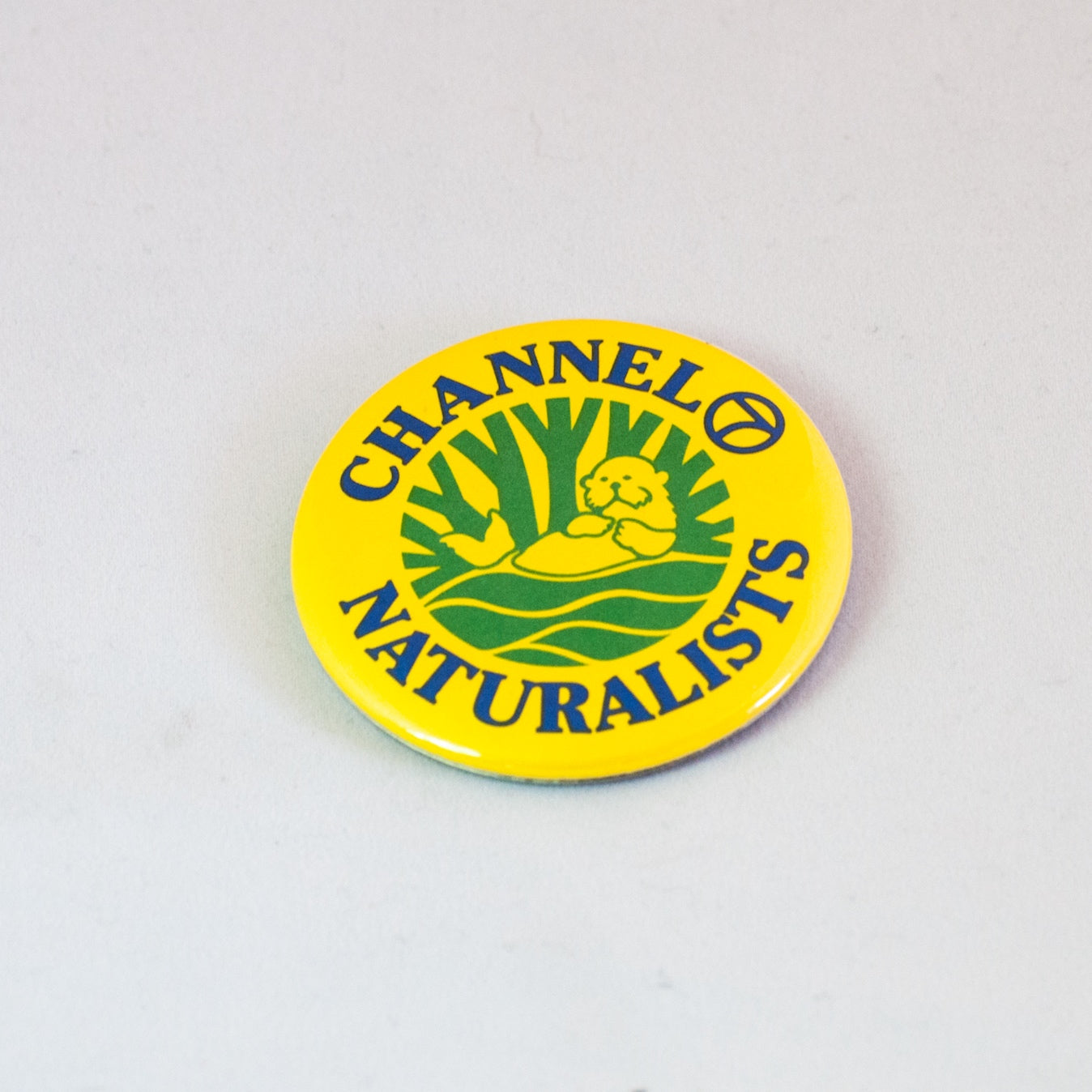 channel 7 naturalist otter yellow vintage button pinback