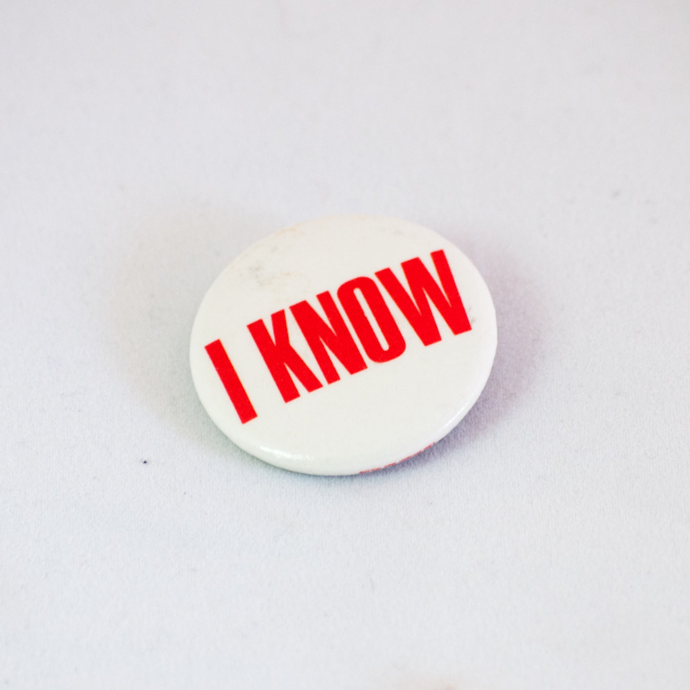 rare vintage button bold cool red i know statement