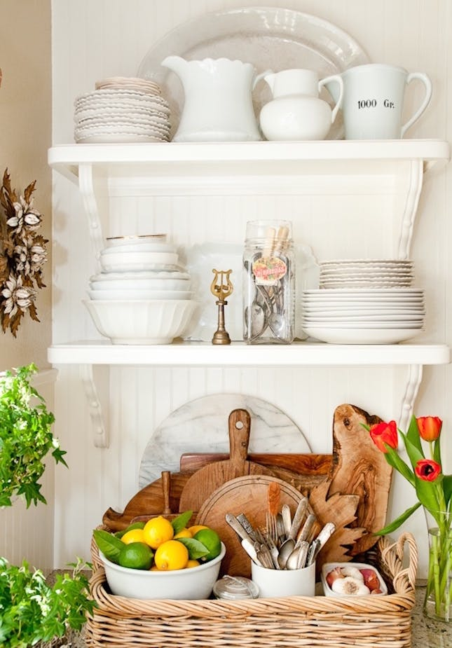 How to decorate your open shelving.