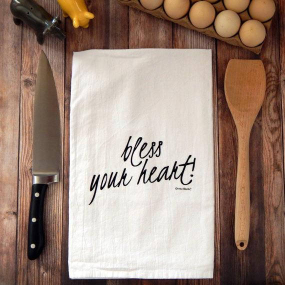 Green Bee KC Tea Towels - Bless Your Heart Flour Sack Tea Towel | Black Print