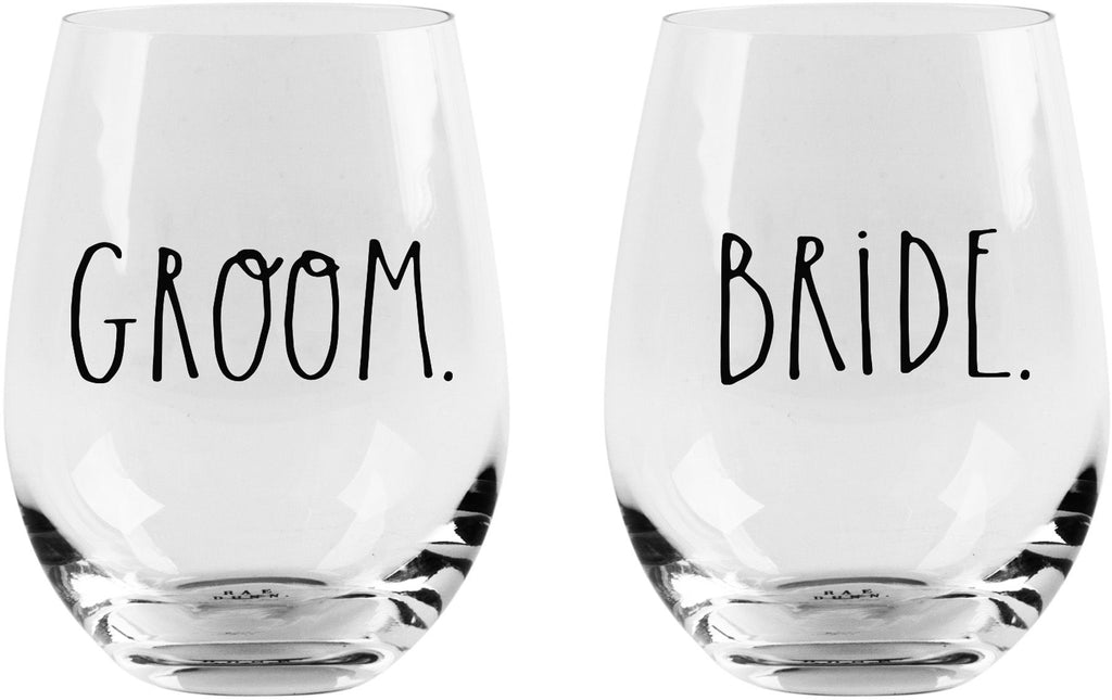 "Rae Dunn Stemless ""BRIDE & GROOM Glasses"