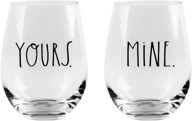Rae Dunn S/2 Yours/Mine 19oz Stemless