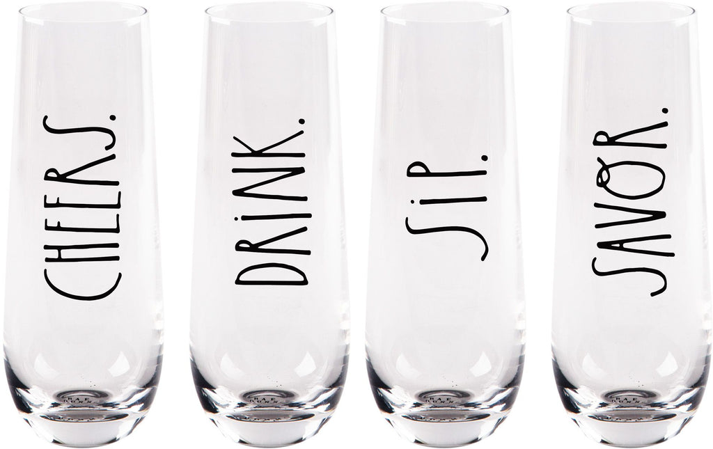 Rae Dunn S/4 Cheers 8oz Stemless Flute