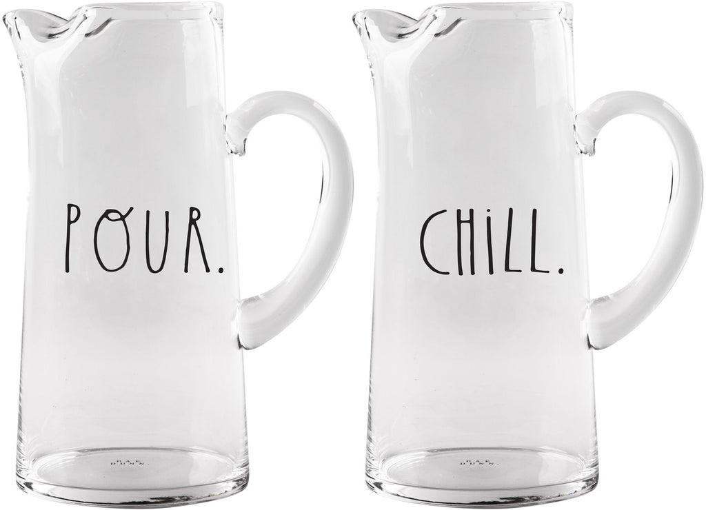 Rae Dunn 60oz 2 Asst Pitchers 'Pour' & 'Chill'