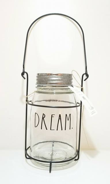 "Rae Dunn Clear Glass Lantern ""Deam"""