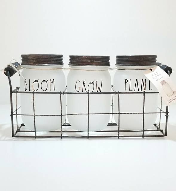 "Rae Dunn Rustic Tea Light Triple Lantern ""Plant-Grow-Bloom"""