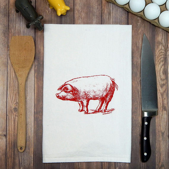 Green Bee KC Tea Towels - Pig Flour Sack Tea Towel | Red Ink