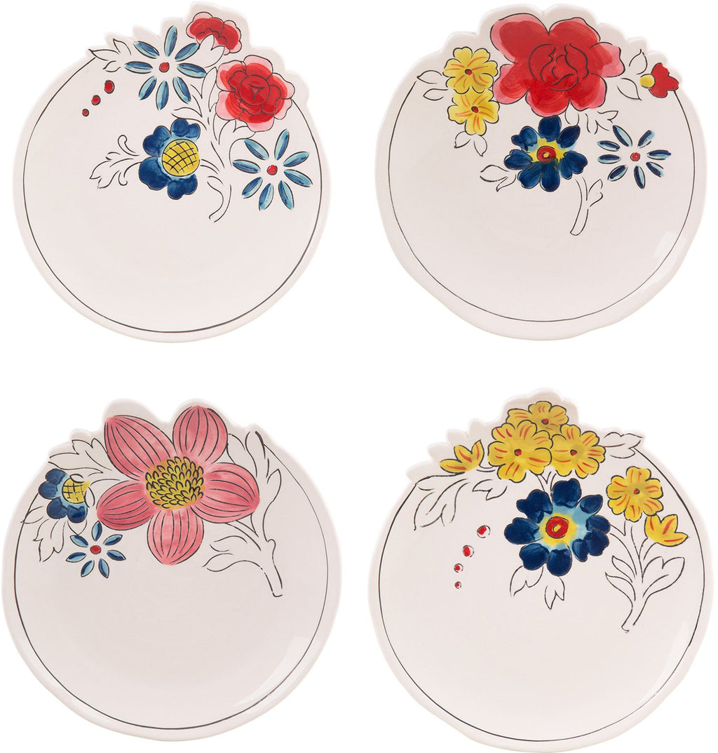 "SET OF 4 ASSORTED 4""D MOLLY HATCH TEABAG HOLDER FLOWER PATCH"