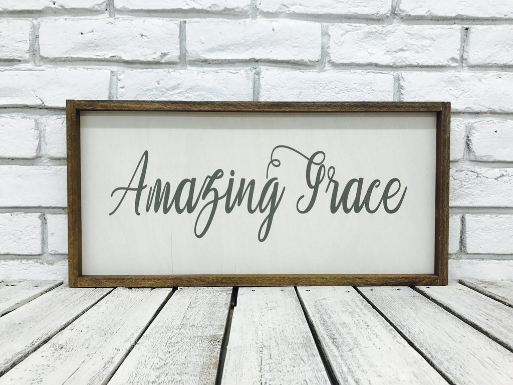 Amazing Grace Farmhouse Wood Sign