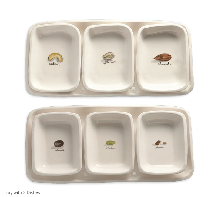 Rae Dunn Tray with 3 Dishes (nut)