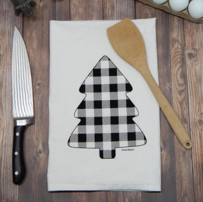 Black Buffalo Check Pine Tree Flour Sack Tea Towel