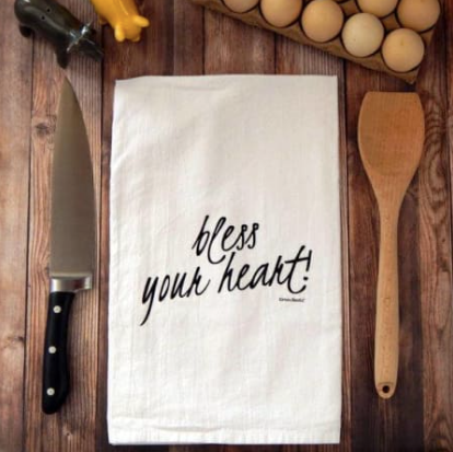 Bless Your Heart Flour Sack Tea Towel | Black Print
