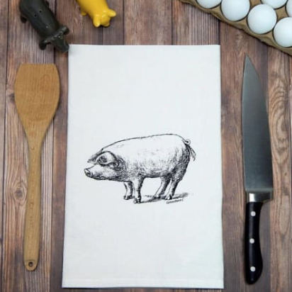 Pig Flour Sack Tea Towel | Black Ink