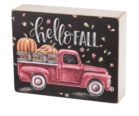 Red Truck Chalk Sign - Hello Fall
