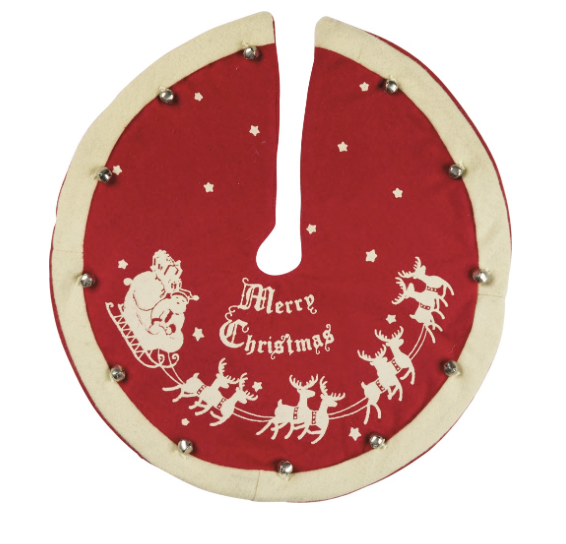 Mini Vintage Tree Skirt - Santa & Sleigh