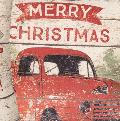 Red Truck Vintage Merry Christmas Pillow