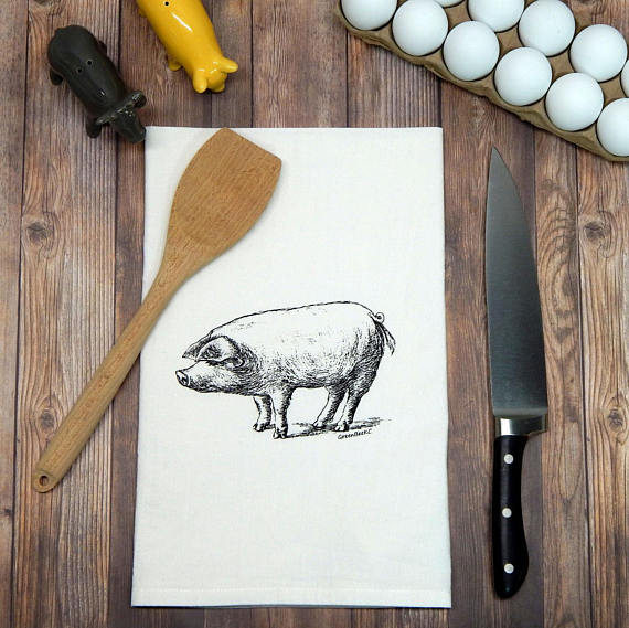 Green Bee KC Tea Towels - Pig Flour Sack Tea Towel | Black Ink