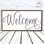 Welcome Farmhouse Grey Wood Sign