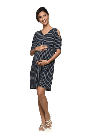 Striped Cold-shoulder Nursing Dress (GNSD-081)