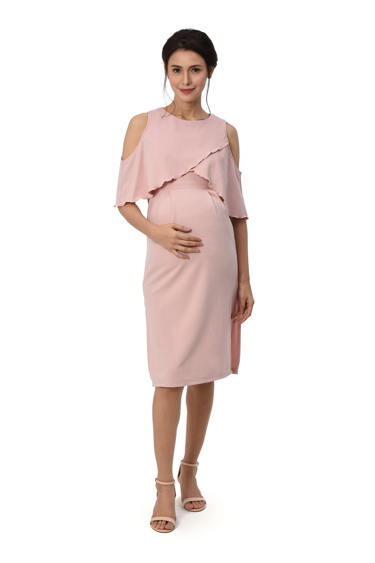 f31d6b919b6 Cold-Shoulder Nursing Dress (GNSD 049) BLUSH – Great Expectations Maternity  PH