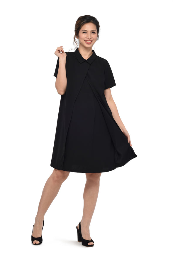 Collared Overlap Nursing Dress (GNSD 044) Black