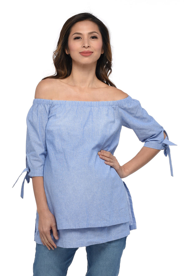 Off Shoulder Nursing Blouse (GNST-029)