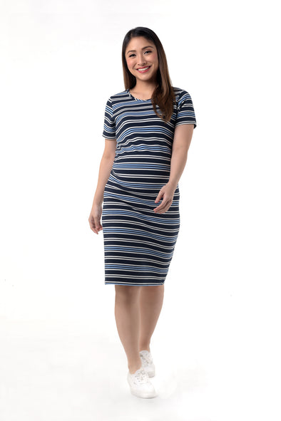 Knit Maternity T-Shirt Dress - Blue Stripes (DRS 188)