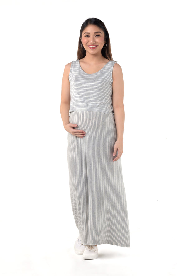 Striped Nursing Maxi Dress - Gray Stripes (GNSD 041)