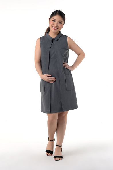 Collared Sleeveless Nursing Dress (GNSD 029A) - Charcoal