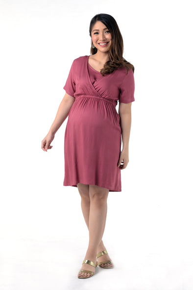 Overlap Front Nursing Dress - Mauve (GNSD 038)