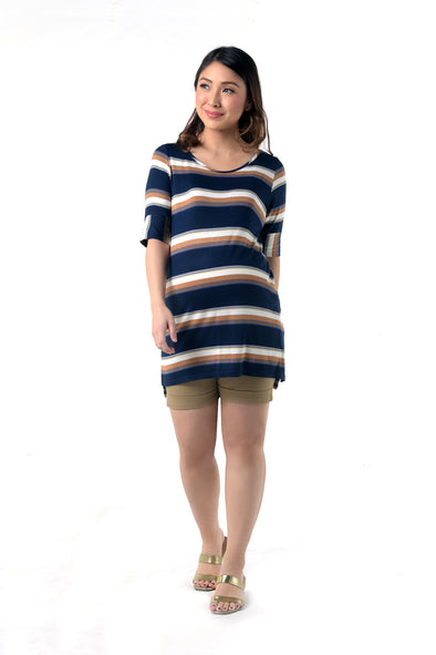 Stripes Knit Maternity Top - Multi Stripes (SSR 105)