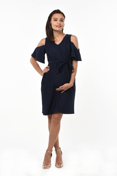 Cold-Shoulder Dress - Navy (DRS 197)