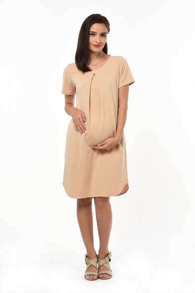 Pleated Dress (GNSD 046) - Camel