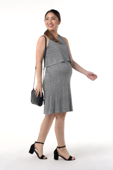 Knit Halter Nursing Dress - Black Printed (GNSD 005B)