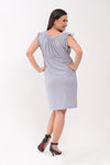 Ruched Sleeves Maternity Dress - Gray (DRS 178)