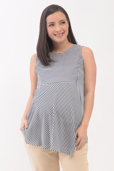 Striped Tunic Maternity Top - Navy Stripes (SLR 074)