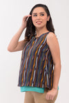 Printed Layered Nursing Top - Green Printed (GNST 027)