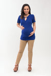 Dressy Maternity Knit Top - Blue (SSR 106)