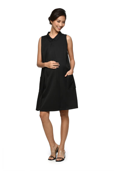 Collared Sleeveless Nursing Dress (GNSD-029C)