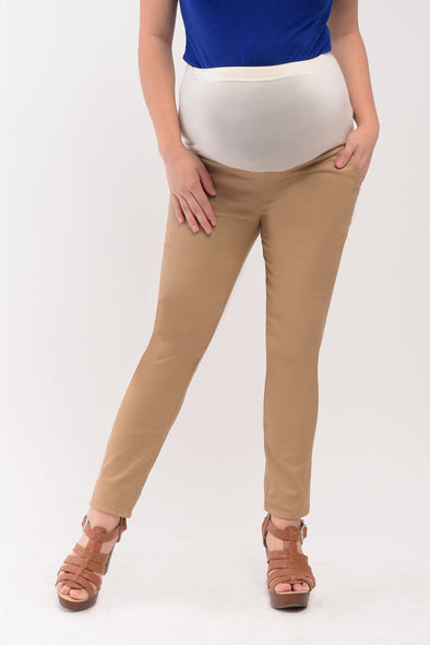 Basic Full Panel Slim Straight Maternity Pants - Khaki (PNL 051)
