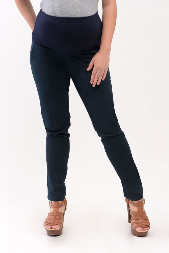 Basic Full Panel Slim Straight Maternity Pants - Navy Blue (PNL 051)