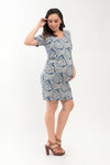 Printed Maternity Sheath Dress - Blue Printed (DRS 164A)