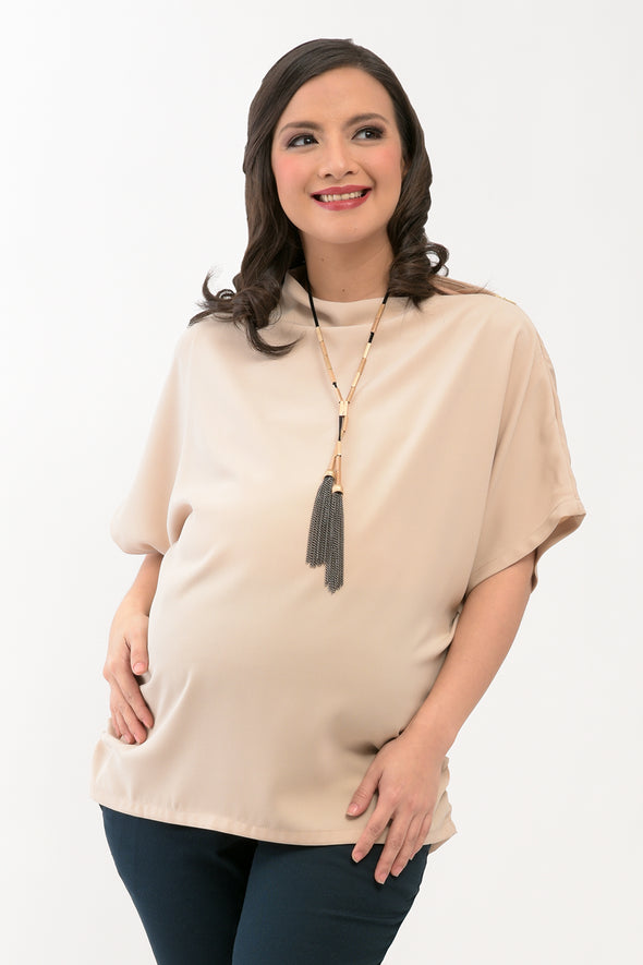 Asymmetrical Maternity Top - Nude (SSR 104)