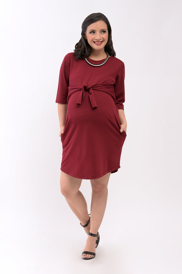 Tie-Front Maternity Dress - Wine (DRS 180)