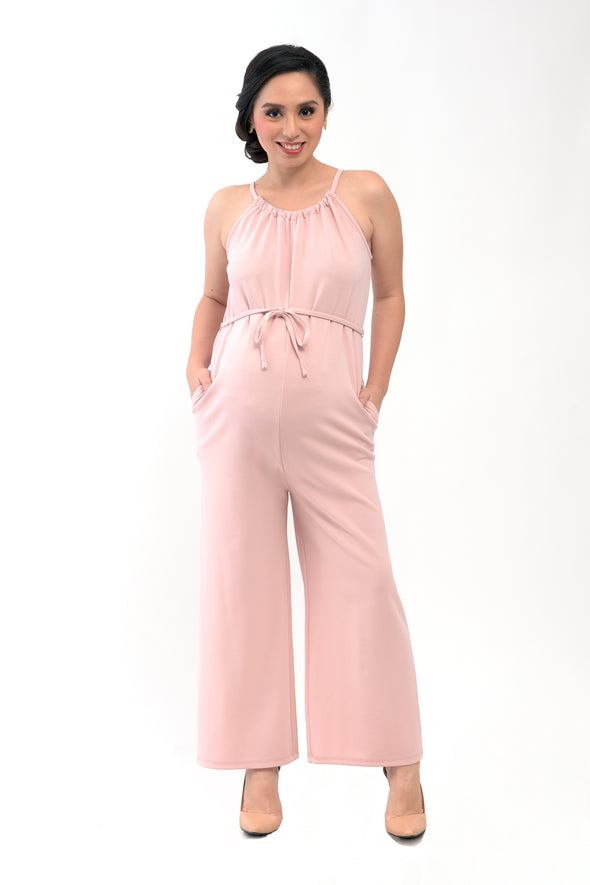 Halter Maternity Jumpsuit - Old Rose (RMP 006)