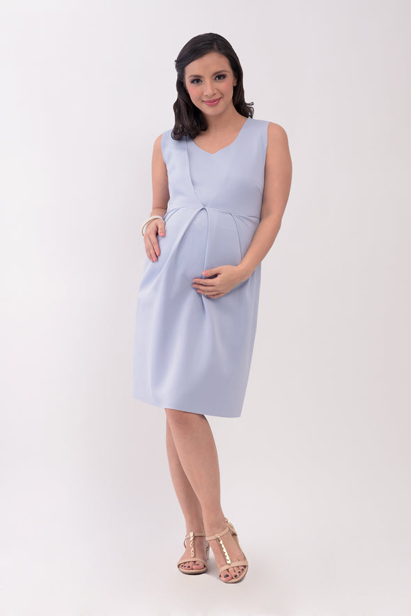 Front Pleated Sleeveless Nursing Dress - Lavender (GNSD 035)