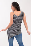 Drape Asymmetric Maternity Top - Black Stripes (SLV 019A)