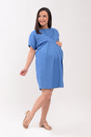 Crewneck Pleated Nursing Dress - Blue (GNSD 032)